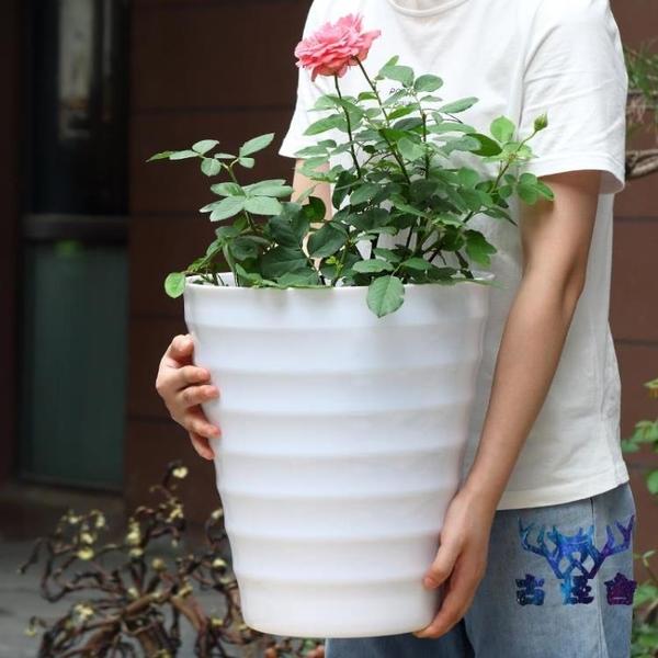 花盆碼塑料高筒圓形螺紋加厚仿陶瓷花盆【古怪舍】