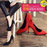 少女高跟鞋子秋季  韓版百搭尖頭黑色性感細跟淺口單鞋高跟