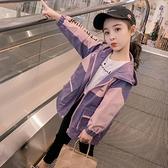 女童工裝外套春秋裝2020新款韓版中大童洋氣風衣秋季兒童中長款潮