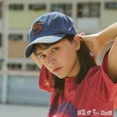 復古日本皮標字母軟頂牛仔棒球帽子男女夏天百搭休閒鴨舌帽遮陽帽 「潔思米」