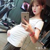 孕婦裝夏季歐美孕婦短袖T恤V領孕婦上衣基礎款      芊惠衣屋
