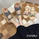 PAPORA格紋休閒平底涼鞋拖鞋K4234