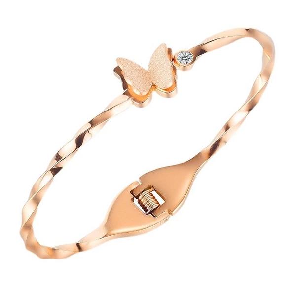鈦鋼手環 時尚設計個性蝴蝶百搭款鑲鑽鈦鋼流行手環