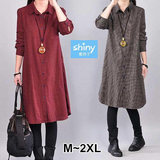 【V3421】shiny藍格子-修身美感.復古撞色單口袋格紋長版襯衫洋裝