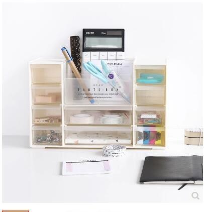 日式案頭收納盒抽屜式化妝品收納櫃辦公多層塑膠整理