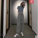 套裝 2021洋氣減齡顯瘦顯高小個子搭配歐貨心機網紅寬管褲兩件套裝夏季