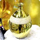 埃及風古巴比倫圓球木質壓紋陶瓷金色花器/花瓶【♘雅典娜家飾】