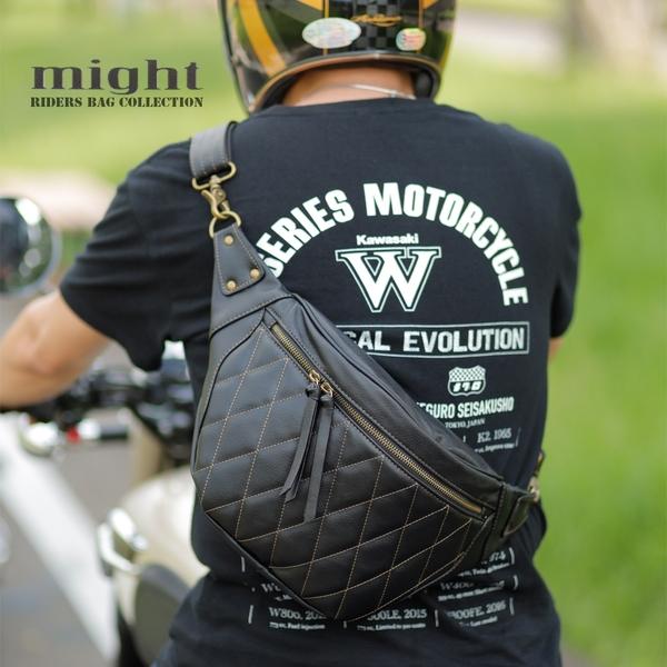 2020最新版 現貨 might 菱格紋鑽石縫線 騎士 肩包 腰包 兩用 哈雷 凱旋 小牛皮風格 手工 MTW50689-B