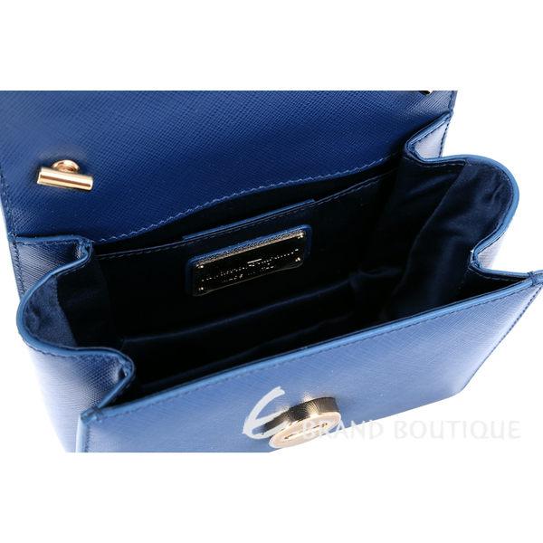 Salvatore Ferragamo Ginny 防刮牛皮鍊帶晚宴包(藍色) 1520372-23