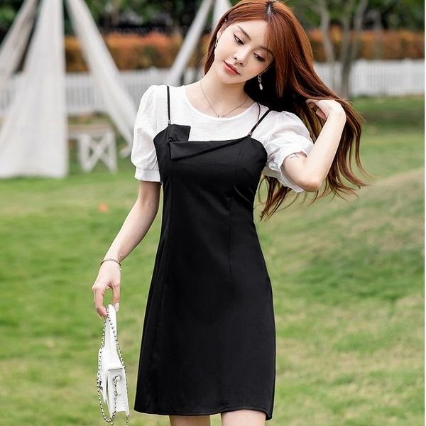 法式黑白香風兩件套連身裙(白上衣+細肩帶吊帶裙)[99173-QF]美之札