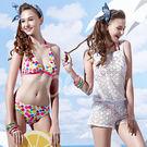 ☆小薇的店☆MIT聖手品牌繽紛彩色圓點時尚三件式比基尼泳裝特價1580元 NO.A93609(M-L)
