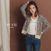 現貨 PUFII-針織外套 個性豹紋圓圈造型拉鍊針織薄外套 2色-1004 秋【CP15276】