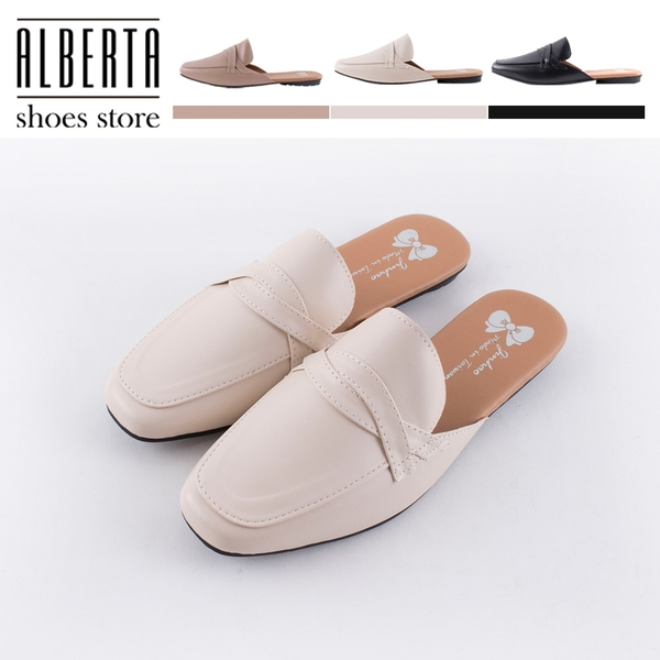 [Here Shoes] 1.5cm穆勒鞋 MIT台灣製 優雅氣質百搭 皮革平底方頭半包鞋 懶人鞋 OL上班族-AW469
