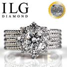 【ILG鑽】頂級八心八箭擬真鑽石戒指-愛的焦點款 RI020 主鑽約75分 獨家寬版造型 時尚大方款