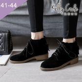 大尺碼女鞋-凱莉密碼-潮流時尚V型復古磨砂綁帶馬汀小短靴3cm(41-44)【JI96-7】黑色