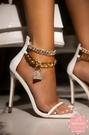 高跟涼鞋 五金鎖鏈性感水鑽鎖頭細跟方頭 晚宴鞋 高跟鞋 新娘鞋*KWOOMI-A43