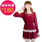 洋裝【551】FEELNET中大尺碼女裝春裝雪紡松緊腰長袖洋裝 XL-4XL碼
