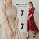 洋裝 Space Picnic|-5kg點點高腰微透短袖洋裝(現+預)【C21034118】
