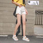 新年好禮 新款韓版毛邊寬松百搭高腰白色牛仔短褲女學生夏季熱褲2018超短褲
