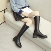 騎士長筒靴女冬不過膝蓋小個子過膝靴高筒直筒皮面長靴潮 - 風尚3C