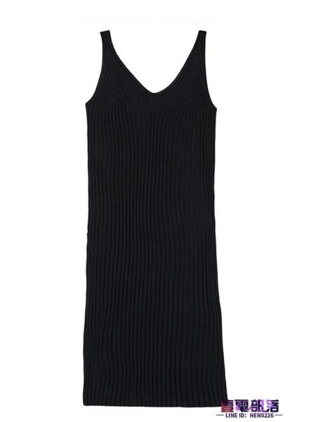 吊帶針織連身裙秋冬中長款背心打底裙女黑色冬天內搭毛衣裙子氣質