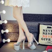 水晶鞋透明防水台18/20公分恨天高超高跟涼拖鞋超穩粗跟婚紗夜場鞋 露露日記