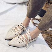 尖頭鞋 尖頭交叉綁帶平底鞋女淺口系帶百搭芭蕾舞鞋兩穿單鞋    琉璃美衣
