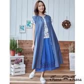 【Tiara Tiara】 日系排釦背心長洋裝(藍)