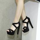 14cm高跟鞋涼鞋女夏韓版性感夜店綁帶防水台露趾粗跟涼鞋 「尚美潮流閣」