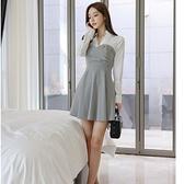 第二件4折 韓系時尚氣質修身顯瘦優雅格紋襯衣領長袖洋裝