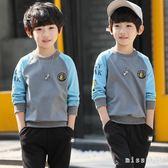 時尚韓版童裝男童衛衣新款中大童大尺碼兒童長袖套頭T恤韓版上衣 js9557『miss洛羽』