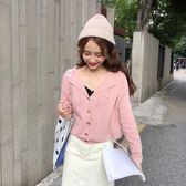 針織衫西裝領短款外套針織女開衫秋冬裝 糖糖日系森女屋