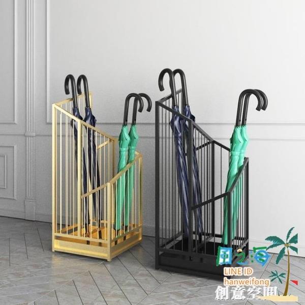 北歐鐵藝雨傘架酒店門口雨傘桶放傘架家用電梯口立傘筒收納置物架【風之海】