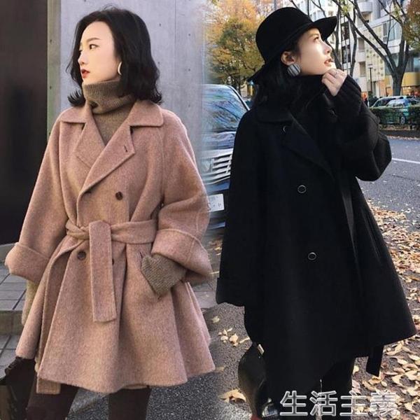 毛呢大衣 大碼女裝毛呢外套胖mm200斤寬鬆秋冬加肥加大胖妹妹短款呢子大衣 生活主義