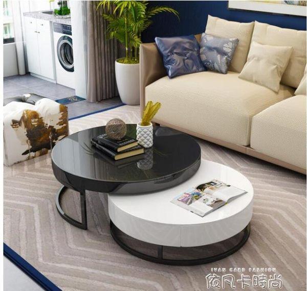 現代簡約茶幾創意整裝個性黑白圓形北歐小戶型客廳茶幾電視櫃組合QM 依凡卡時尚