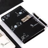 卡杰個性帶鎖成人密碼本女創意手帳日記本學生筆記本文具本子 滿天星