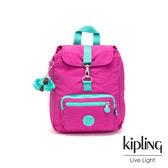 Kipling 糖果色調螢光粉x薄荷綠撞色特殊扣環後背包-RESOR