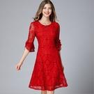 中大尺碼洋裝 蕾絲拼接喇叭袖顯瘦連身裙  L-5XL #yz16236 ❤卡樂❤