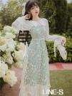 20新款早秋復古法式年輕改良版旗袍收腰長袖超仙女氣質溫柔洋裝