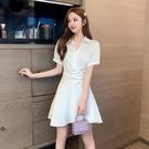 襯衫洋裝 白色襯衫裙女夏季修身顯瘦短袖襯衣連身裙氣質女神風衣服-Ballet朵朵