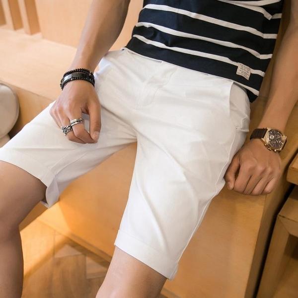 西裝褲 夏季白色短裤男西装休闲五分裤男士七分裤修身5分裤子男韩版潮流 玫瑰