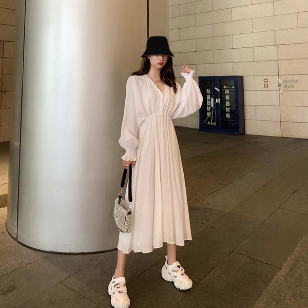 洋裝 氣質顯瘦襯衫裙秋裝網紅裙子女2020新款潮中長款秋季白色洋裝女