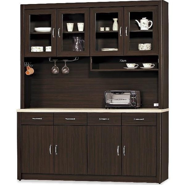 櫥櫃 餐櫃 AT-809-1 5.3尺胡桃碗碟櫃【大眾家居舘】