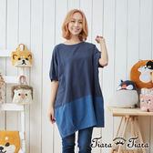 【Tiara Tiara】撞色寬版排釦飛鼠袖雙面穿搭純棉洋裝(藍/卡其)