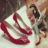 尖頭新娘鞋中式婚鞋女細跟水鑚龍鳳方扣結婚紅鞋中跟敬酒禮服單鞋 衣櫥秘密
