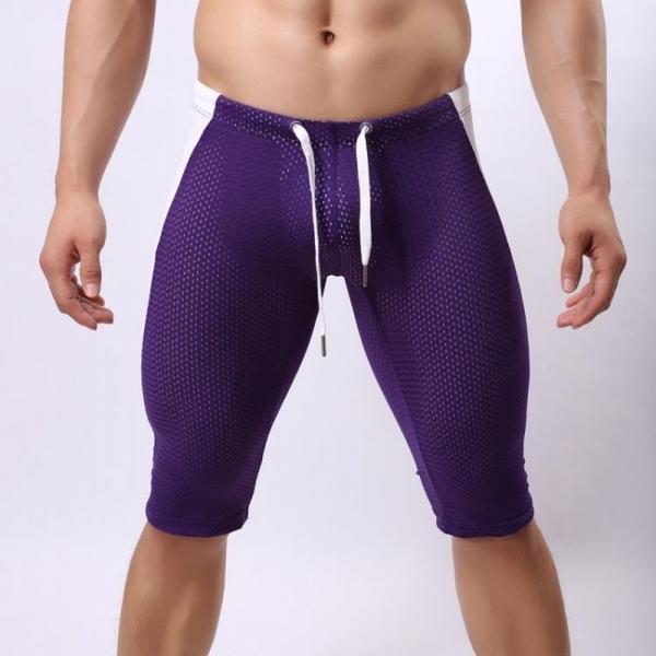 男士內褲緊身透氣青年塑身型中褲健身呼吸孔透氣潮男性跑步打底褲