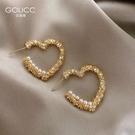 耳釘 輕奢高級感小眾設計感桃心珍珠耳環網紅爆款925純銀銀針耳釘耳飾 星河光年