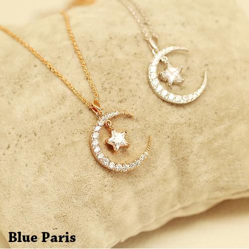 項鍊 - 韓版月亮星星鑽石優雅鎖骨鍊【21564】《2色》Blue Paris 【防過敏】