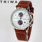 [萬年鐘錶】TRIWA 北歐瑞典設計Lansen Chrono系列Duke雙眼計時真皮錶 銀x白 38mm  LCST113-SC010212
