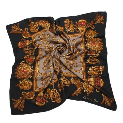 Christian Dior 華麗流蘇墜飾(大)領巾(黑色) 179017-3